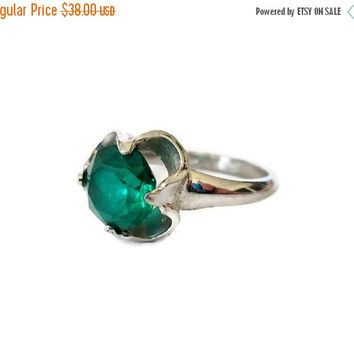 Easter Sale Vintage Art Deco Period Sterling Silver Ring Green Quartz, Solitaire Ring , Size 5.5