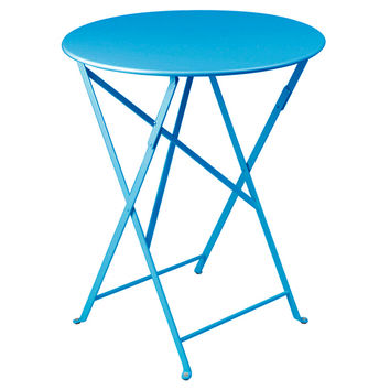 """Bistro 24"""" Round Table, Turquoise Blue, Outdoor Bistro Tables"""
