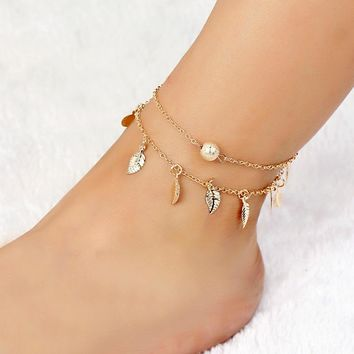 Retro Bead Leaf Tassel Boho Ankle Bracelet for Women Gold Color Multilayer Link Chain Turkish Anklet Female Foot Jewelry Gift