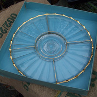 Vintage Clear Glass Divided Relish Tray...Mid Century...Fancy..Buffet Serving...Gold Trim...With Original Box