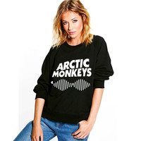 New Fashion 2016 ARCTIC MONKEYS Letter Printed Woman Autumn And Winter Sweatshirt Moleton Feminino Full sleeve Sudaderas Hoodies