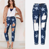 Holes Star Printed Beggar Casual Straight Jeans