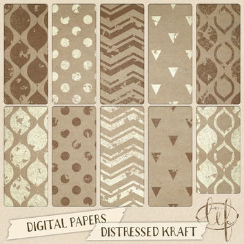 Kraft Digital Paper / Craft Paper Backgrounds distressed stamped and rustic look. perfect for scrapbooking, making cards and invitations