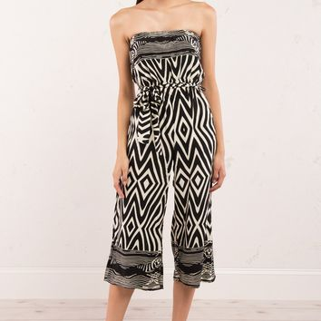 Eclectic Pattern Strapless Culotte with Waist Tie