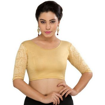 Designer Gold Strech Elbow Sleeve Stretchable Saree Blouse Crop Top A-25-gold