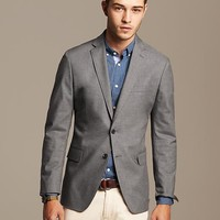 Tailored-Fit Grey Cotton Blazer