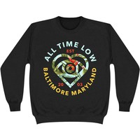 All Time Low Men's  Vacation Heart Sweatshirt Black