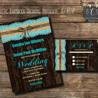 Teal Rustic Wedding invitation and RSVP, Rustic Wedding invitations,Rustic invitation sets, Rustic wedding invitation, Barnwood invitation,