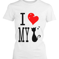 Funny Graphic Statement Womens White T-shirt - I Love My Cat