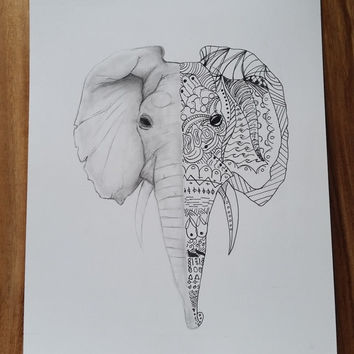 Elephant, Zentangle and HB Pencil Drawing. 9x12