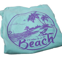 I'd Rather Be at the Beach Mint and Violet Pocket Tee