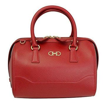 Ferragamo Women's Gancini Red Leather Hand Bag 21f869 W/strap