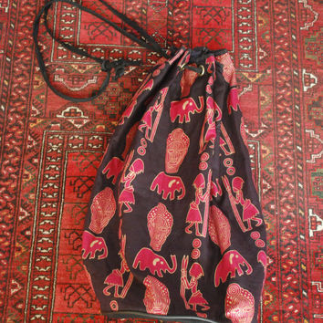 Vintage African Pink Elephant Stamp Print Drum Bag or Tote with Drawstring