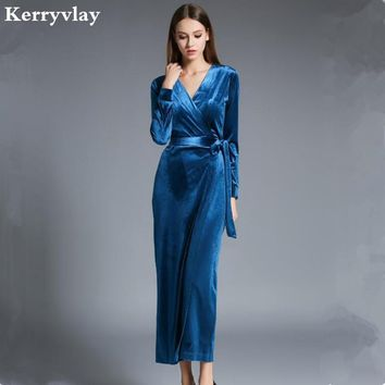 ad0eb4584e Winter Women Long Sleeved Velvet Maxi Dresses Vetement Femme 201