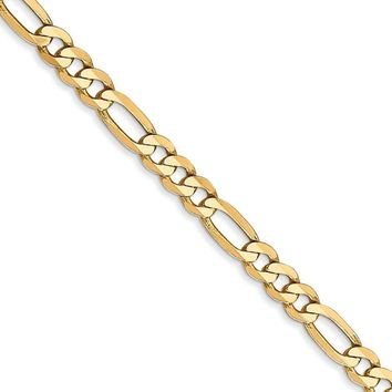 4mm 14k Yellow Gold Solid Flat Figaro Chain Bracelet