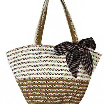 color and satin brown bow beach tote