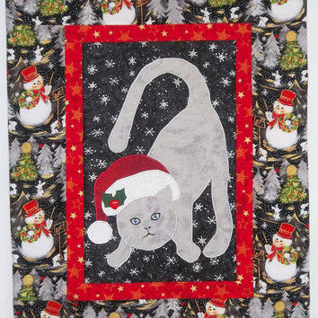 Christmas Wallhanging-Christmas Kitty with Santa Hat