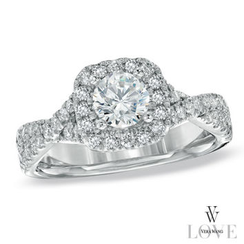 Vera Wang LOVE Collection 1 CT. T.W. Diamond Frame Engagement Ring in 14K White Gold