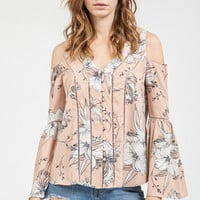 Pink Floral Cold Shoulder Button Down