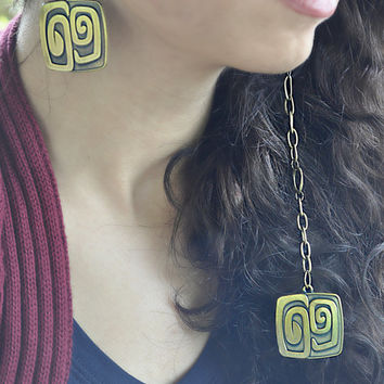 Vintage Square Waving Shape Earring by Sanaz on Etsy