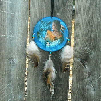 Feather Dream Catcher, Dream Catcher, Brown Dream Catcher, Native American, Blue Dream Catcher, Striped Feather Dream Catcher,