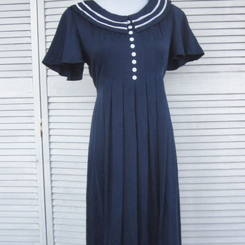 80s Vintage Navy Sailor Dress Dark Navy with White Trim Womens Navy Dress Tie Back Nautical Dress
