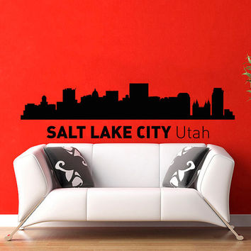 Salt Lake City Utah Skyline City Silhouette Wall Vinyl Decal Sticker Home Decor Art Mural Z490