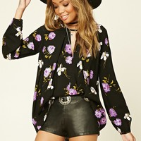 Contemporary Pleated-Front Floral Top