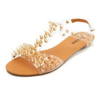 Clear Spiked T-Strap Sandal: Charlotte Russe