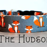 "Playful Unisex Orange & Grey Fox Dog Collar ""The Hudson"""