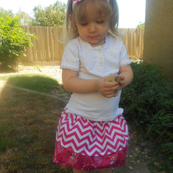 Chevron toddler skirt, Care  Bear toddler skirt, Reversible skirt