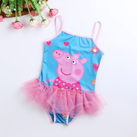 Girls Loving Heart Peppa Pig One-piece Swimsuit Baby Kids Swimwear For Summer = 1958394500
