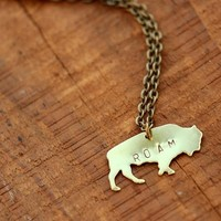Stamped Buffalo Roam Brass Necklace