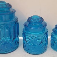 LE Smith Moon & Stars Canister Set of 3 Aqua Blue Small Medium Large NO XL