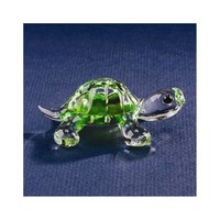 Green Turtle Glass Figurine