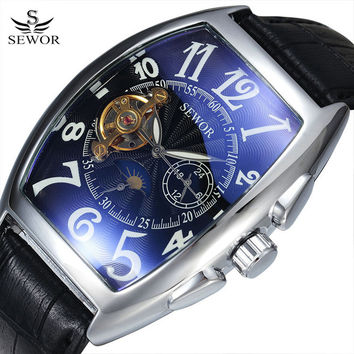 SEWOR Tonneau Tourbillon Automatic Mechanical Watch for Men Simple Leather Band Mens Watches Wristwatch Business Mans Clock