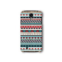 Samsung Galaxy S4 Case, Red and Blue Aztec Geometric on Wood Pattern 3d-sublimated, Mobile Accessories.