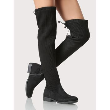 Round Toe Ribbed Thigh High Boots BLACK