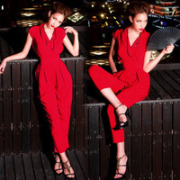 Cool Women Jumpsuit Pants Trousers Cap Sleeve Tunic