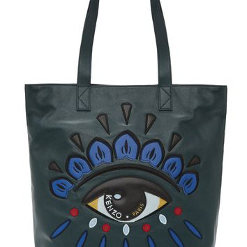 Kenzo Dark Green Leather Eye Embroidered Tote