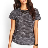 LOVE 21 Sheer-Paneled Marled Tee