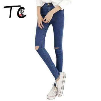 TC 2017 Women Skinny Jeans New Fall Fashion Pencil Pants Denim Strech Blue Black Hole Ripped High Waist Plus Size Jeans PT0236
