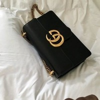 Gucci Stylish Women Shopping Bag Leather Metal Chain Shoulder Bag Handbag Crossbody Satchel Black I