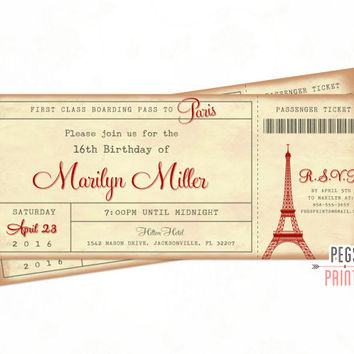 Paris Ticket Invitation - Paris Boarding Pass Invite - Paris Birthday Invitation - Paris Birthday Party - Parisian Theme Admit One Ticket