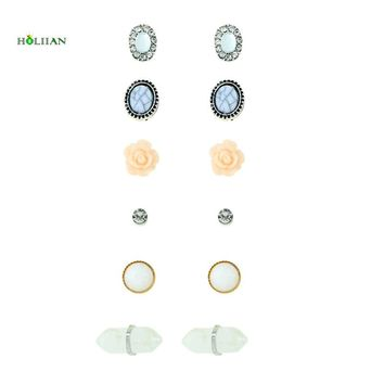 Women marble stone stud earring set supernatural crystal rhinestone earring pink flower niddle earring bullet shape jewelry gift