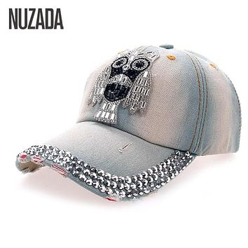 Brands NUZADA Women Girls Ladies Baseball Cap Bone Snapback Hats Popular Owl Rhinestones Denim Hip Hop  Caps szm-040