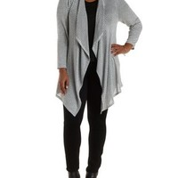 Plus Size Gray Combo Striped Cascade Cardigan by Charlotte Russe