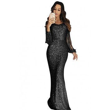 Chic Black Sequin Fringe Sleeve Party Long Evening Dress