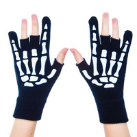 Too Fast Metal Hand Fingerless Gloves Black One