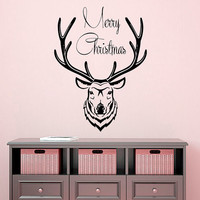 Christmas Wall Decal Deer Decal Holiday Stikers Merry Christmas Vinyl Letters Home Decor Living Room Window Design Interior Animal Art KY42